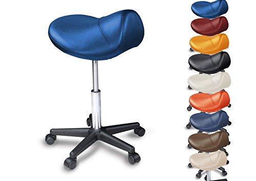 Sattelhocker  Sattelstuhl mit PU Rollen für alle Böden - ergonomisch - stufenlos höhenverstellbar - viele Farben - 360° drehbar - Arbeitshocker - Praxishocker - Kein Werkzeug notwendig Blau