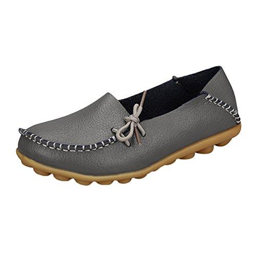Heheja Damen Freizeit Flache Schuhe Low-top Mokassin Loafers Erbsenschuhe Grau Asia 38 (24cm)