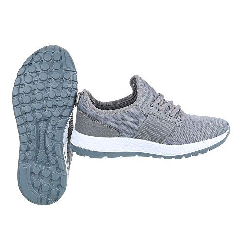 Sportschuhe Damenschuhe Geschlossen Sneakers Schnürsenkel Ital-Design Freizeitschuhe Grau
