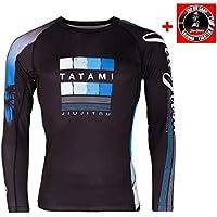 Tatami Rashguard Go with The Flow–Rash Guard para Camiseta Interior Compresión Hombre Top para jiu-Jitsu brasileño, Grappling y MMA–Bundle con Jiu-Jitsu Pegatinas, Color Negro, tamaño Large