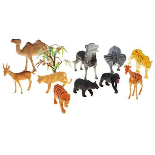 F Fityle 10er-Set Miniatur Tier Modell Spielfiguren Sammelfiguren mit Kamel Elefant Leopard Wolf Tiger Löwe Giraffe Gorilla und Bär -