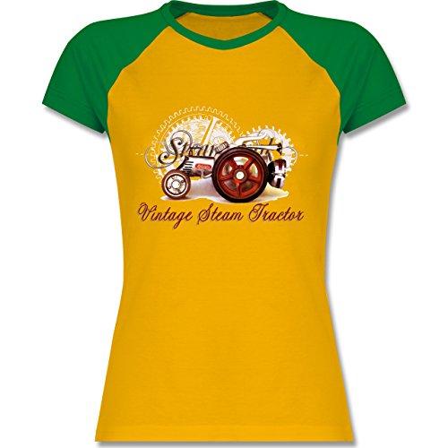 Landwirt - Vintage Steam Tractor Traktor - zweifarbiges Baseballshirt / Raglan T-Shirt für Damen Gelb/Grün