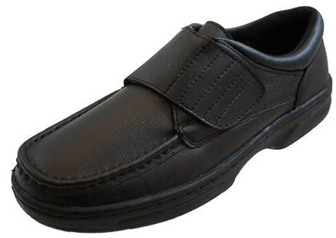 Size 9 Dr Keller Mens Texas5 Easy Slip On Black Soft Lea Leather Upper Formal Velcro Shoes. New