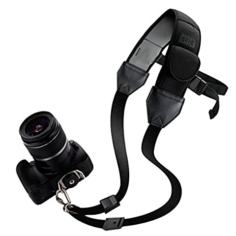 Neck Strap Sling For DSLR Camera with Adjustable Black Neoprene and Gliding Buckle by USA GEAR - Works with Canon , Fujifilm , Nikon , Olympus , Panasonic , Pentax , Sony and More Cameras