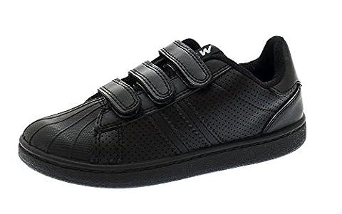 NEW KIDS BOYS GIRLS BLACK SCHOOL SHOES TRAINERS PUMPS FOOTBALL TENNIS VELCRO STRAPS BLACK SIZE 13