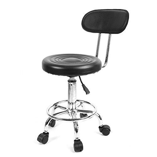 Sgabello girevole estetista con ruote e schienale imbottito per bar casa ufficio parrucchieri, seduta in poliuretano pu, alltezza regolabile 74-87cm