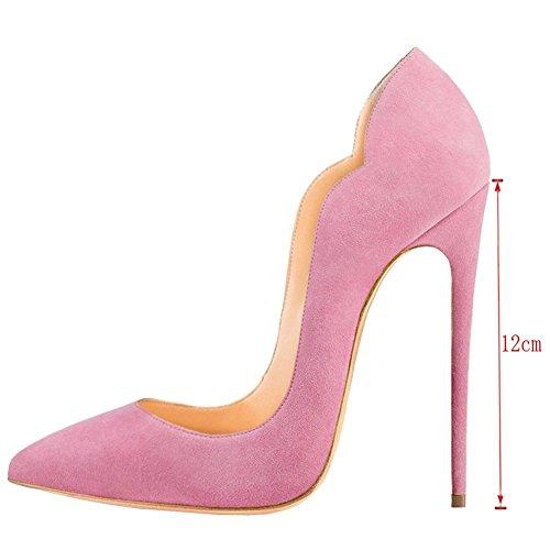 Cuckoo Damen High Heel Slip auf spitzen Toe Party Hochzeitskleid Stiletto Schuhe Pink Patent