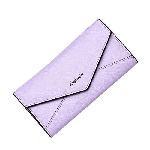 Reasoncool 2017 Donna di moda le ragazze del raccoglitore del supporto della carta moneta della frizione della borsa borsa lunga (Blu) Viola chiaro