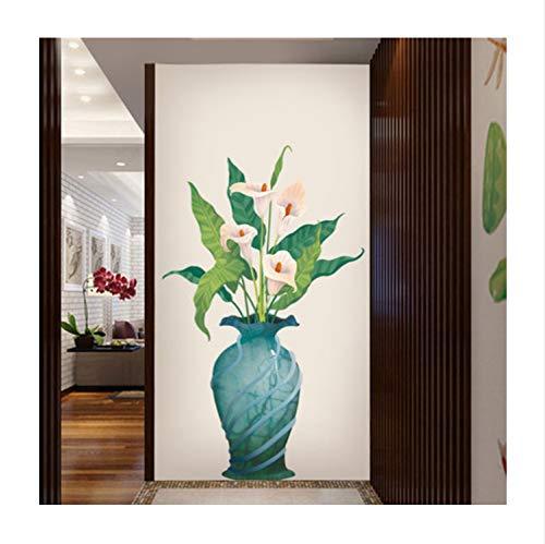 Hufeisen Lotus Vase Wohnzimmer Dekoration Vinly Wandaufkleber Blume Schlafzimmer Badezimmer Wohnkultur Poster 115 * 160 Cm