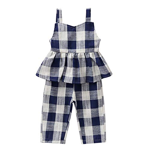 squarex Baby Girl Kid Straps Strampler Backless Jumpsuit Plaid Gestreifte Overall Overall Kurzarm Strampler einfarbig Kleidung