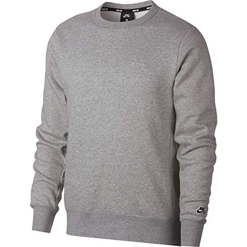Nike Herren M NK SB Crew ICON FLC ESSNL Long Sleeved T-Shirt, Dk Grey Heather/Black, L (Urban Icon-t-shirt)