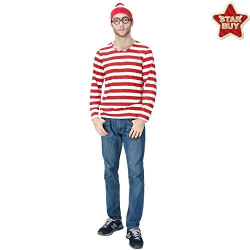 COSOER Wo Ist Walter Herrenbekleidung, Paare Familie Spaß Kleidung Halloween-Kostüme,Stripe-S (Paare Kostüm Beängstigend)