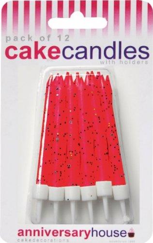 Makako - 12 Bougies avec paillettes - Couleur : Rouge 5026281715278