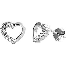 925 pendientes en forma de corazón de plata esterlina con circonio cúbico