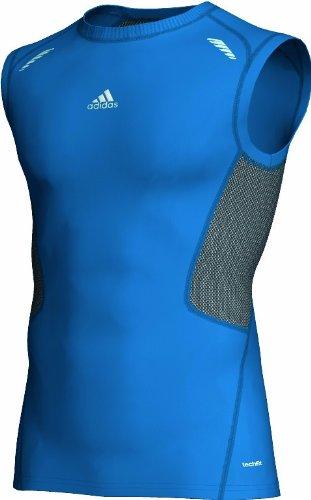 adidas Herren Ärmelloses Shirt Techfit Preparation, bright blue f12, L, W58810 (Ärmellos Haltung)