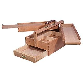 Artina Malkasten Vannes - Utensilienbox - Malkoffer aus Holz mit 4 Staufächern