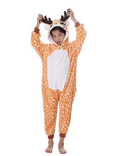 heekpek Kostüm Jumpsuit Tier Fasching Karneval Halloween kostüm Erwachsene Unisex Cosplay Schlafanzug Halloween kostüm Damen mädchen Herren Kinder (Elch, Kinder Größe 95 - für Höhe 100-110cm) (Erwachsene Elch-kostüm Für)