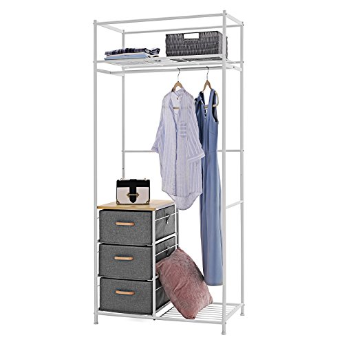 SONGMICS Kleiderschrank aus Metall, 80 x 180 x 47 cm (B x H x T), Garderobenschrank mit Kommode,...
