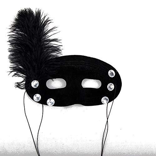 SCLMJ Halloween Maske Maskerade Prop Schwarz Half Face Feder Dekoration Halbe Gesichtsmaske