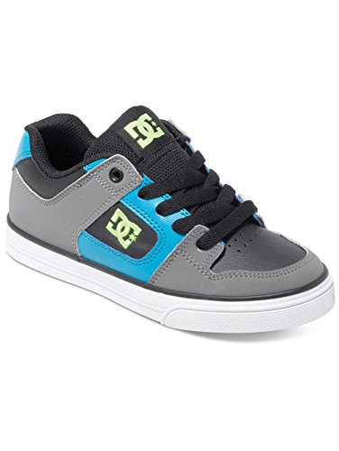 DC Shoes Pure, Jungen Sneaker, Grau - Grau - Black/Armor/Turquoise/Gris - Größe: 39 (Schuhe Dc Jungen Pure)