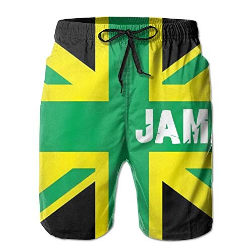 Personality Beach Pants Shorts Jamaica Jamaican Kingdom Flag Customized Summer Casual Beach Shorts Pants for Men Boys (Short Sleeve Swim Cover Up)