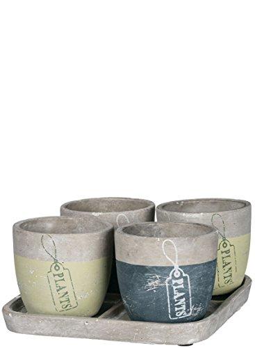 Sullivans 12,7x 7,6cm Ton Keramik Blumentopf, Topf und Untersetzer Set