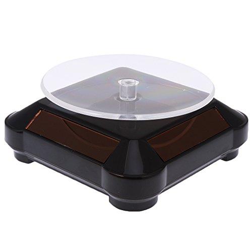 Baoblaze Solar Batterie Drehteller Präsentierteller Drehbühne Schmuck Uhr Stand - Schwarz