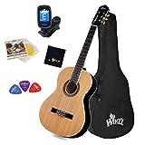 Winzz Guitare Classique 4/4 Adulte et Étudiant, Unique Structure de Support, Guitare pour Débutant 39 Pouces - Brillant Naturel