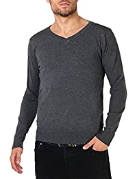 Hommes Pull Uni Col V Classique Slim Fit Top Maille Tendance