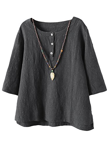 Vogstyle Damen Baumwoll Leinen Tunika T-Shirt Jacquard Oberseiten, Grau, XL