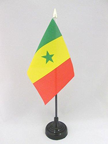 DRAPEAU DE TABLE SÉNÉGAL 15x10cm - PETIT DRAPEAUX DE BUREAU SÉNÉGALAIS 10 x 15 cm pointe dorée - AZ FLAG