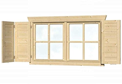 SKAN HOLZ Fensterläden für Doppelfenster Gartenhäuser-Zubehör, Natur, 2,5x57,5x70,5 cm