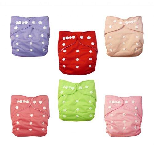 Paquete de 6 pañales de tela lavables y ajustables, de Alva Baby, con 12 inserciones, de bolsillo marrón set 6BM88 Talla:All in one