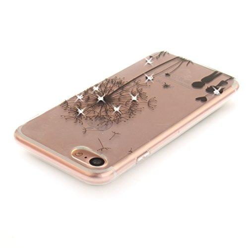 Per iPhone 7,Sunrive® Custodia Cover Case in molle Trasparente Ultra Sottile TPU silicone Morbida Flessibile Pelle Antigraffio protettiva(Fiori neri) dente di leone