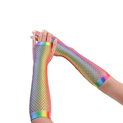 Party DIY Decorations - 1pair Women Gloves Hollow Out Holes Rainbow Print Dance Costume Performance Fingerless Mesh Fishnet - Decorations Party Party Decorations Rainbow Garland Veil Belly Da