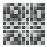 FoLIESEN Fliesenaufkleber für Bad und Küche - 20x20 cm - Mosaik grau - 29 Fliesensticker für Wandfliesen
