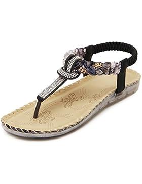 KE1AIP Frauen Sommer Einfache Böhmen Perlen Rhinestone Sandalen flache Schuhe Clip Toe Römische Sommer Strand...