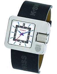 K Swiss M072.03KS - Reloj analógico de caballero de cuarzo con correa de piel gris - sumergible a 50 metros