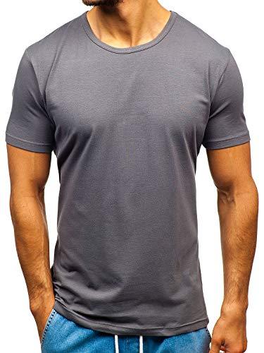 BOLF Herren T-Shirt Basic Einfarbig Rundhals Sport Style JUST Play T1042 Dunkelgrau L [3C3] (T-shirts Plain)
