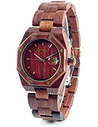 Bewell - Reloj madera natural de sándalo rojo con movimiento de cuarzo analógico sumergible y de gran resistencia con diseño exclusivo