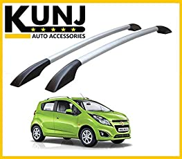 Sleek Model Car Roof Rail - Chevrolet Beat - with 3M Adhesive Tape - Black/Silver
