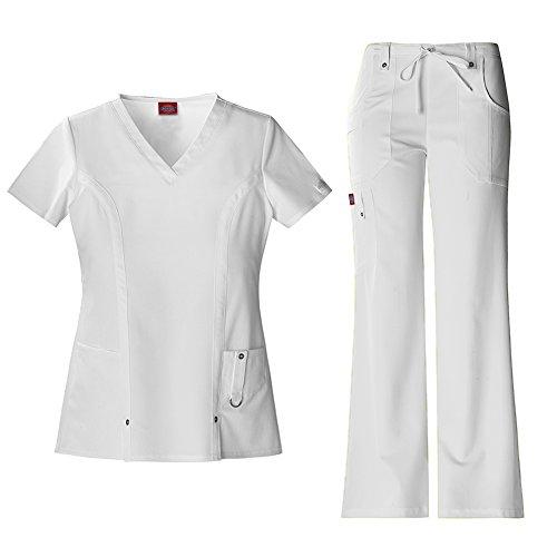 Dickies Xtreme Stretch Women's V-Neck Top 82851 & Drawstring Pant 82011 Scrub Set (White - X-Large) (Top Drawstring-scrub)