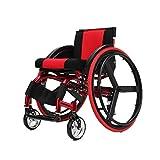 Kaiyang Sports and Leisure Fauteuil roulant léger avec dossier en alliage d'aluminium ultra-léger, roue arrière, amortisseur, chariot, handicapé, personnes âgées, conduite médicale-rouge