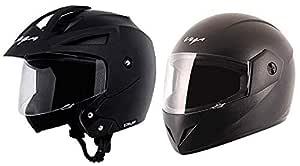 Vega Crux Half Face Helmet (Black, M) & Cliff CLF-LK-L Full Face Helmet (Black, L) Combo