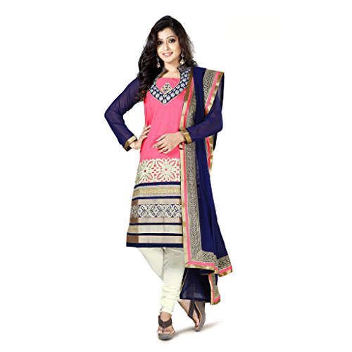 Urjita Creations Pink Art Silk (Bhagalpuri Silk) Semi-Stitiched Suit