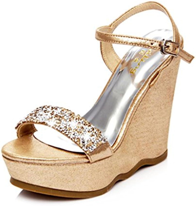 BaiLing Sandali Sandali Sandali di estate delle donne cunei tallone impermeabile strass di fondo strato piccole dimensioni scarpe... | Buon design  | Sig/Sig Ra Scarpa  f36bb1