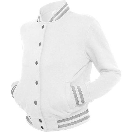 Urban Classics Damen Ladies Metallic College Sweatjacket Jacke, Mehrfarbig (Wht/SIL 00240), X-Small (Herstellergröße: XS)
