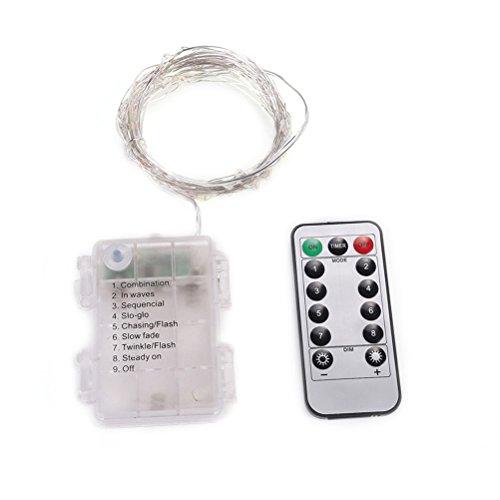 Ledmomo Guirlande lumineuse LED Dimmable avec télécommande, 4,9 m 50 LED étanche Guirlande lumineuse pour chambre à coucher, terrasse, jardin, cour, les fêtes, mariage, décoration (lumière blanc)