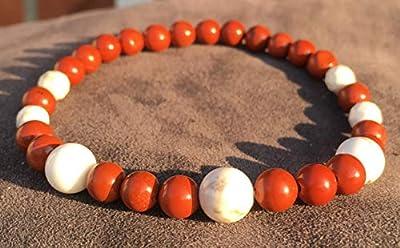 bracelet Minceur REGIME lithothérapie pierre naturelle Jaspe Rouge Magnésite blanc