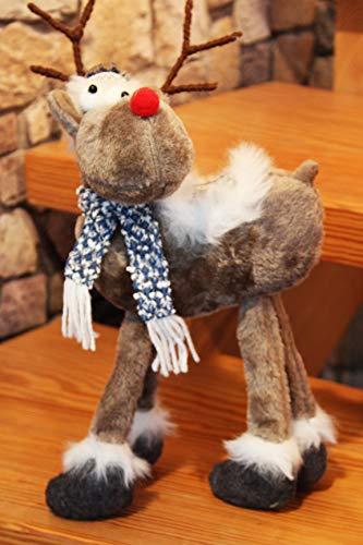 Preisvergleich Produktbild KAMACA Deko ELCH / RENTIER aus Stoff mit knuffigem Outfit ausgefallene Dekoidee oder zum Verschenken zu Winter Weihnachten (Rentier blau grau 4 Beine 40 x 20 x 12 cm)